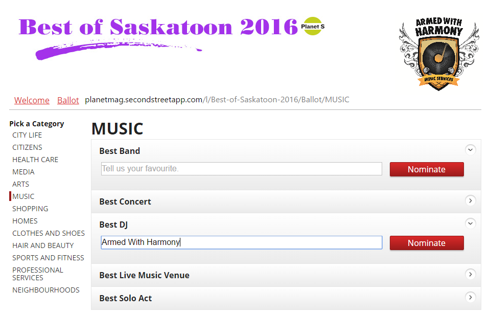 Nominate or Vote Armed With Harmony as Best Saskatoon DJ 2016 Planet S Magazine Best Of Edition - Image 1