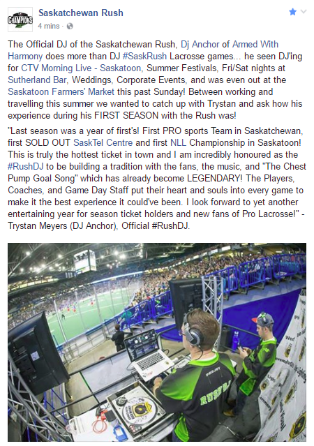 Saskatchewan Rush #RushDJ Dj Anchor talks about the 2016-2016 Season in Saskatoon - Image 1