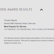 We WON - Best Saskatoon & Saskatchewan DJ 2016 - Wedding Industry Expert Awards!