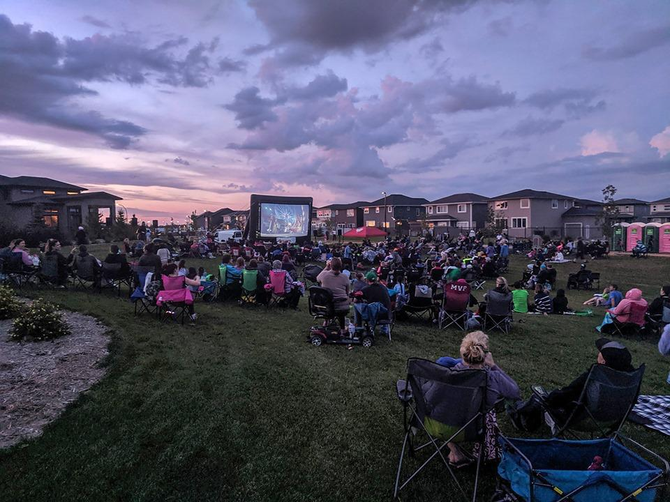 Saskatoon Saskatchewan YXE Pop Up Drive In Movie Screen Outdoor Theatre Cinema Under The Stars Armed With Harmony